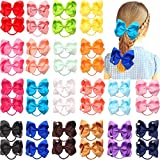 40Pcs 4.5 Inches Boutique Pops Hair Bows Elastic Hair Ties Grosgrain Ribbon Big Cheer Bow Ponytail Holder Rubber Hair Bands for Girls Toddlers Kids Teens In Pairs