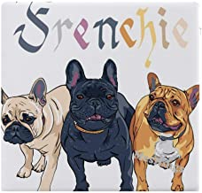 "Three French Bulldog Home Printed Fashion Square Comfortable Seat Cushions Chair Pads Office Soft Cushion - 15"" x 14"""