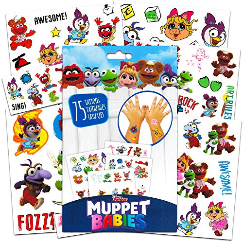 Disney Muppet Babies Tattoos Party Supplies Pack ~ 75 Muppets Temporary Tattoos Featuring Kermit, Fozzie, Miss Piggy and More (5 Sheets, Muppet Babies Toys)