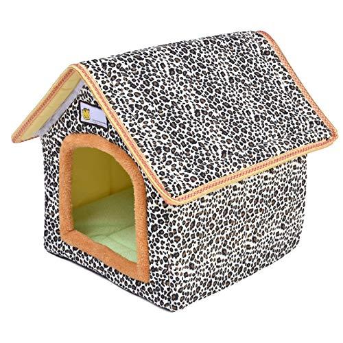Caseta para perros y gatos, cueva para gatos, caseta para mascotas, diseño de leopardo, para exteriores, portátil, resistente al agua, con cojín extraíble lavable (S)