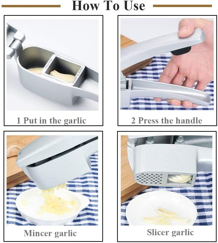 Garlic Press Garlic Crusher//Garlic Presses Easy Clean Dishwasher Safe 2 in 1 Garlic Mince and Garlic Slice with Garlic Cleaner Brush and Silicone Tube Peeler Set Easy Squeeze Rust Proof