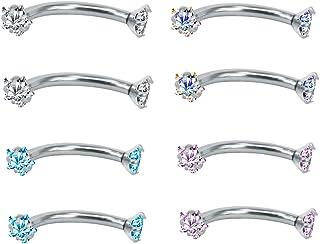 ZeSen Jewelry 4PCS 16G in Acciaio Inox Cubic Zirconia Curvo Barbell dell'anello del sopracciglio Daith Orecchini Rook pene...