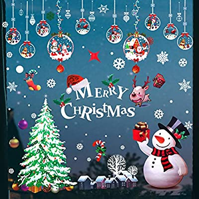 Christmas Window Clings Decorations Stickers,Christmas Snowflake Decals Santa Claus Stickers for Home Indoor Holiday Decorations 6 Sheets