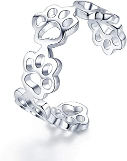 Cute Animal Footprints Open Ring, 925 Sterling Silver Adjustable Finger Rings for Women Girls Birthday Gifts with Jewelry Box