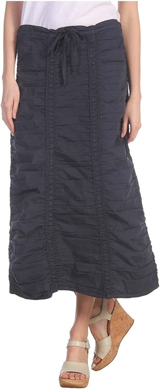 XCVI Women's Stretch Poplin Double Shirred Panel Skirt Anchor Navy Skirt MD (Women's 810)