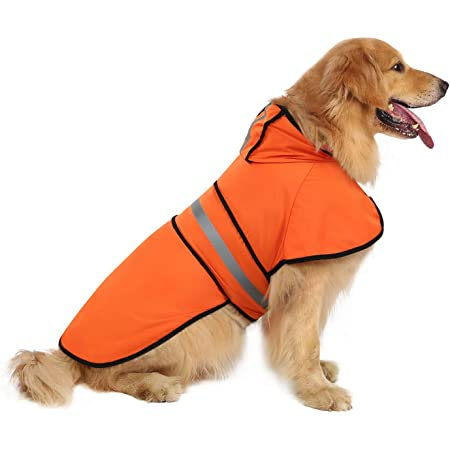 HDE Dog Raincoat Hooded Slicker Poncho for Small to X-Large Dogs and Puppies (Safety Orange, X-Large)