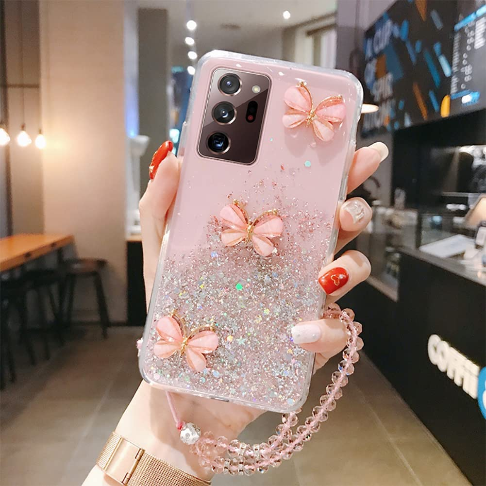 ISYSUII Crossbody Phone Case for Samsung Galaxy S8 Plus Butterfly Glitter Sparkle Bling Paillette Stars Diamond Case Flexible Soft Silicone Protective Cover with Neck Cord Lanyard Strap,Pink