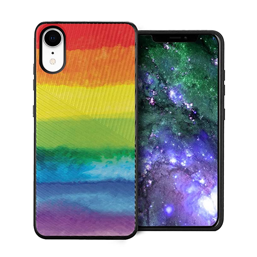 Capsule Case Compatible with iPhone XR [Embossed Diagonal Lines Hybrid Dual Layer Slim Armor Black Case] for iPhone XR- (Pride Flag)