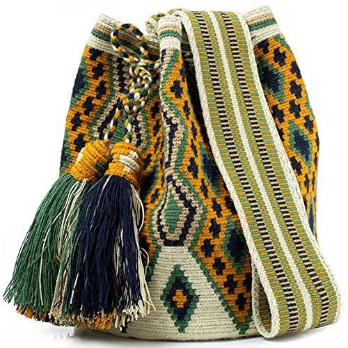 Wayuu Mochila-Taschen, gehäkelt, gewebt, handgefertigt, authentisch, kolumbianische Boho-Taschen, bunt, (Nariño), Large