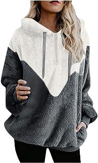 comprar comparacion Mujer Sudadera Caliente y Esponjoso Tops Chaqueta Suéter Abrigo Jersey Mujer Otoño-Invierno Talla Grande Hoodie Sudadera c...