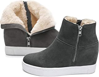 Athlefit Women's Hidden Wedge Fur Sneakers High Top Wedge Snow Boots