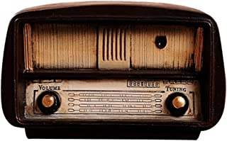 Decdeal Antique Old-Fashioned Resin Brown Vintage Radio Model Home Decorative Display Ornament Bedroom Decor Christmas Bir...