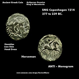 1057 King Antigonus Gonatas 239 BC. Herakles Lion / Horseman. Macedonia Ancient Greek Coin. Bronze Good