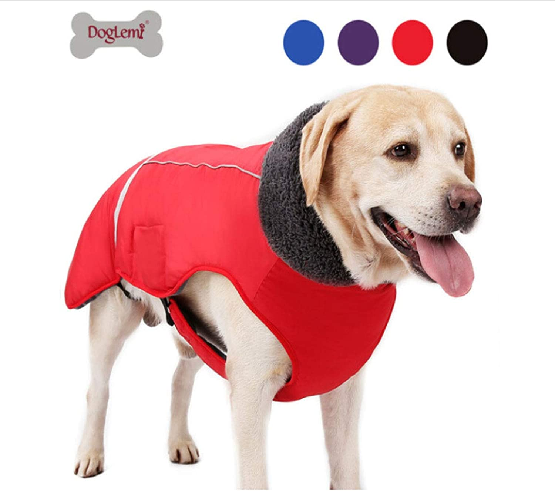 Huijunwenti ThirdGeneration Dog Buckle Clothes, Pet Thick Winter Jacket Vest, Big Dog SplashProof, Reflective Warm Clothing, Black XXXL Fashion (color   Red, Size   S)