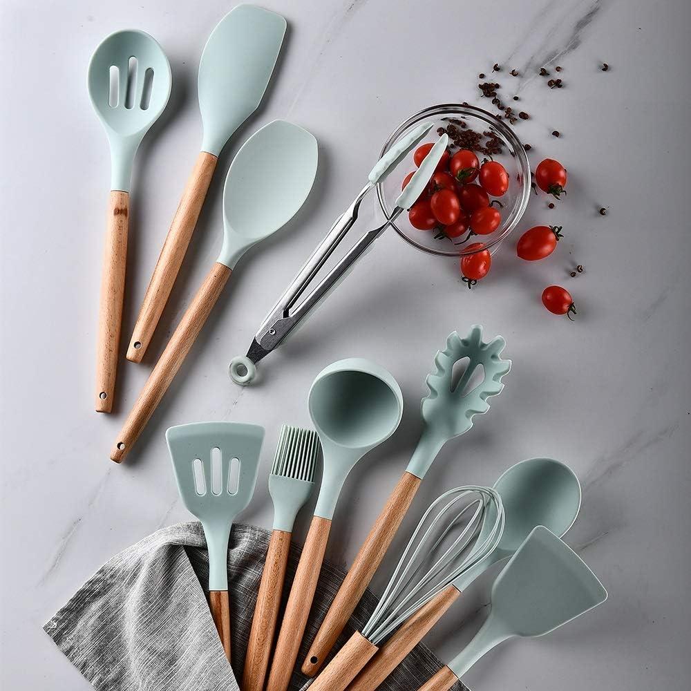 Utensilios de cocina Küche Kochutensilien Werkzeug Set Non-stick Spachtel Schaufel Backen Küchenkochgeschirr Küchenzubehör Gadgets (Color : 12PCS) Clear