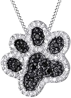 0.1 Ct Black and White Diamond Dog Paw Pendant Necklace in 14K Gold Over Sterling Silver