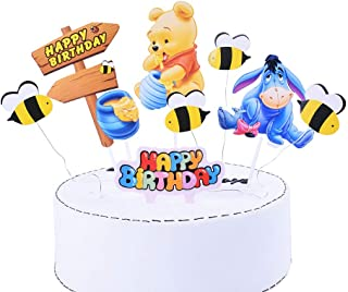 SHAMI Winnie Happy birthday Day The Pooh Pooh Bear Cake Topper Bumble Bee Cupcake Toppers for Bee Themed Happy Birthday Pa...