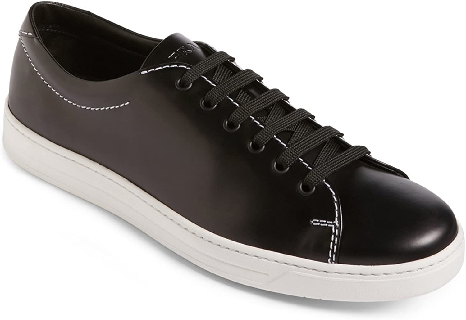 Prada Men's Brushed Calf Leather Low-top Sneaker, Black-White 4E3116