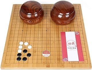 Luckyw Bambu dubbelsidigt schackbräde Go schackset för vuxna nybörjare barn