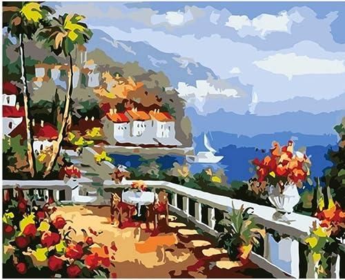 LIWeißKY Lanscape Wandbild Malen Nach Zahlen DIY Handpinted Seaside House Digital Farbeing Nach Zahlen Leinwand Kunst Für Wohnzimmer, Mit Rahmen, 50x60cm