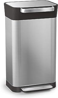Joseph Joseph 30037 Intelligent Waste Titan Trash Can Compactor 8 gallon/30 liter Silver 30030