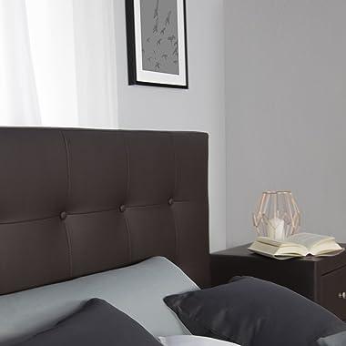Homestyle4u 1833 Lit capitonné avec sommier à lattes et dossier en cuir synthétique Marron 140 x 200 cm