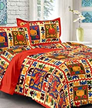 UniqChoice Red Color Rajasthani Traditional Printed 120 TC 100% Cotton Double Bedsheet with 2 Pillow Cover,UCBD113
