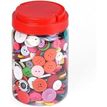 ewtshop 1000 Botones de plástico de Colores, Redondo, para Manualidades, 2 y 4 Agujeros, Varios Colores y Tamaños, con Schöner Caja, para Costura, DIY, Trabajos manuales, Manualidades con Niños: Amazon.es: Hogar