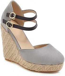 BalaMasa Womens ASL06363 Pu Platform Heels