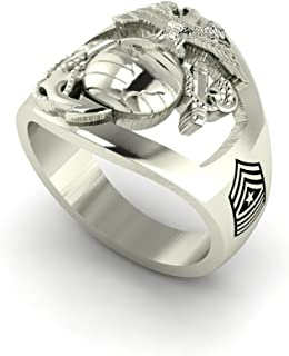 Solid 14K White Gold Marine Corps Ring with Open Back Eagle Globe and Anchor, USMC and MSGT Rank MR10