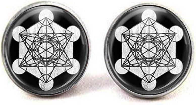 Metatrons Cube Sacred Geometry Glass New item Jewelry Super sale period limited Art Cufflinks Photo