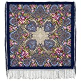 Pavlovo Posad Russian Shawl 100% Wool 58x58' Scarf 148x148 cm silk tassels Old Castle 947-14