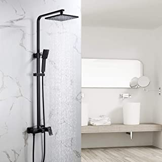 Auralum Mezclador de ducha 2 funciones para baño, sistema de ducha negro con ducha de lluvia 23x23 cm, incluye ducha de mano, ducha de lluvia, barra de ducha ajustable, montaje en pared