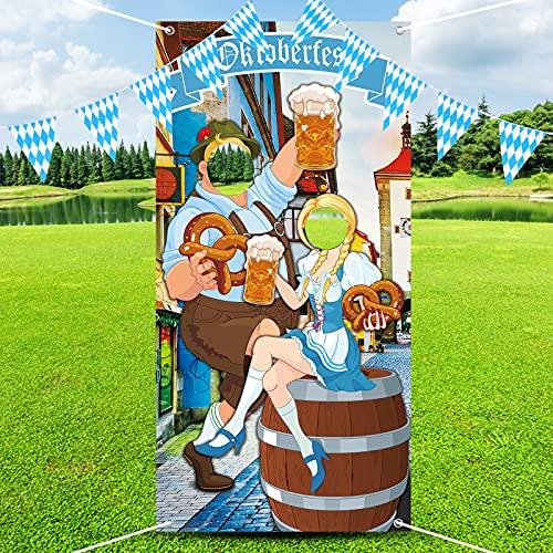 Herefun Oktoberfest Party Dekorationen, Oktoberfest Foto Requisit Banner, Oktoberfest Deko Wimpel Girlande, Oktoberfest Photo Booth Requisiten für Oktoberfest Party Bayerisches Bier Fest, 5.9*3 Fuß