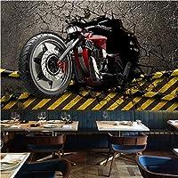 写真の壁紙3D立体空間カスタム大規模な壁紙の壁紙 壊れた壁のオートバイの壁の装飾リビングルームの寝室の壁紙の壁の壁画の壁紙テレビのソファの背景家の装飾壁画-280X200cm(110 x 78インチ)