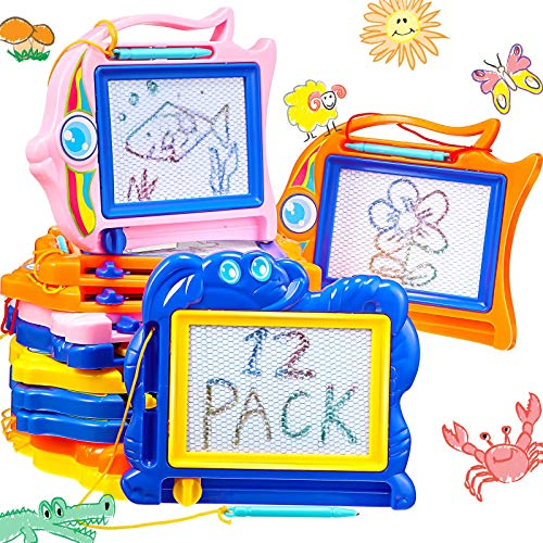 Censen 12 Pieces Mini Magnetic Drawing Doodle Board Toys for Kids Travel Size Erasable Kids Drawing Pad Small Drawing Painting Sketch Pad Set Games Educational Toys for Girls Boys (Fish, Elephant)