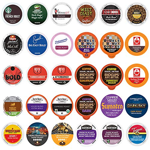 Dark Roast Coffee Variety Pack - Variety Pack of Extra Bold & Strong Coffee Pods from the Top Coffee Brands in a Variety of Dark Roast & Espresso Styles for Keurig K Cup Coffee Makers - 30 Pod Pack
