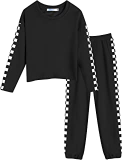 Girls Clothes Sweatsuits Tracksuits Cute Plaid Crop Top...
