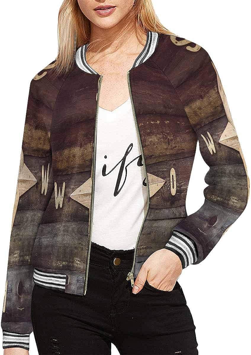 InterestPrint Women's Wonderful Butterflies on Green Jacket Zipper Coat Outwear