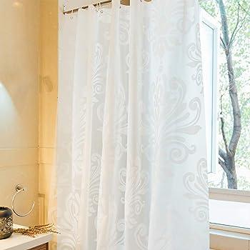 AooYo シャワーカーテン 半透明 90 x 180cm おしゃれ 防水 防カビ 浴室カーテン 白 PEVA ポリエステル 北欧 ユニットバス 目隠し用 厚手 取り付け簡単 風呂カーテン 浴室 洗面所 間仕切り バスルーム カーテン 0.9メートル リング付属 白い花