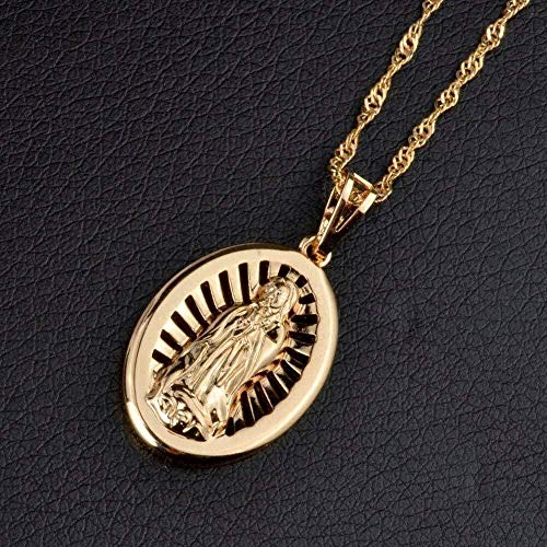 LDKAIMLLN Co.,ltd Collar Mujer Hombre Collares Pendientes Oro Claro Rosa Virgen María Collares Pendientes para Mujeres Religión Charms Our Lady Jewelry Bautismo Regalos