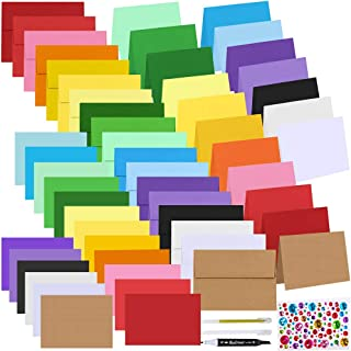 108 Sets 18 Colors Blank 4x6 Cards and Envelopes Stationery Set 4x6 Flat and Folded Cardstock Note Cards and 4x6 Envelopes...
