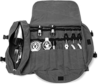 Bartender Kit Tote Bag, Large Barware Set Roll Bag, Cocktail Making Tool Set Bag, Portable Bar Case Bag, Cocktail Accessories Kit Roll Pouch,Multi-Funtion Barware Set Storage Case (Grey)