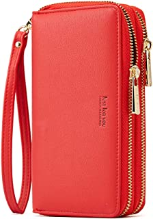 Cyanb Wristlet Cellphone Clutch RFID Blocking Wallet Long Purse with Dual Zipper Removable Wrist Strap Rococo Red