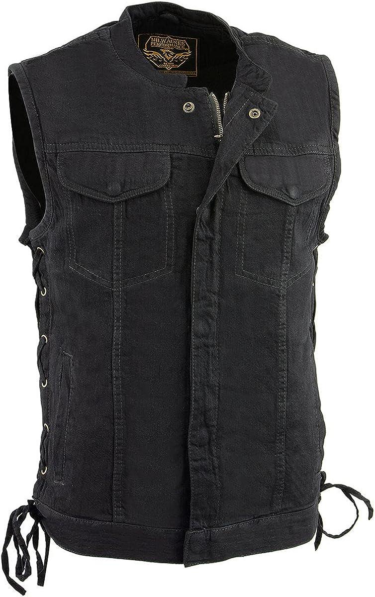 Milwaukee Leather MDM3002 Men's Black Side Lace Denim Club Vest with Hidden Zipper