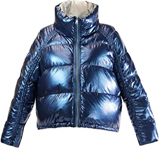Womens Short Winter Metallic Down Puffer Jacket Lightweight Fashion Coat Warm Overcoat(Can be Positive and Negative Two wear),Blue,XS