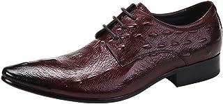 [WEWIN] ビジネスシューズ 紳士靴 革靴 メンズ 本革 型押し ロングノーズ クロコダイル柄 レースアップ ドレスシューズ 結婚式 フォーマル