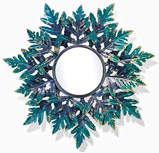 CJY-mirror Espejo de Pared Decorativo Hierro Arte Vintage Redondo 3D estéreo Hojas Verdes, Espejos de Pared Forja a Mano Shabby Chic, Entrada de decoración del hogar montable en la Pared Decorativa