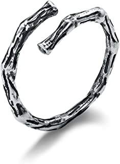 NIDA New York - 925 纯银复古分支形状时尚戒指开口可调节
