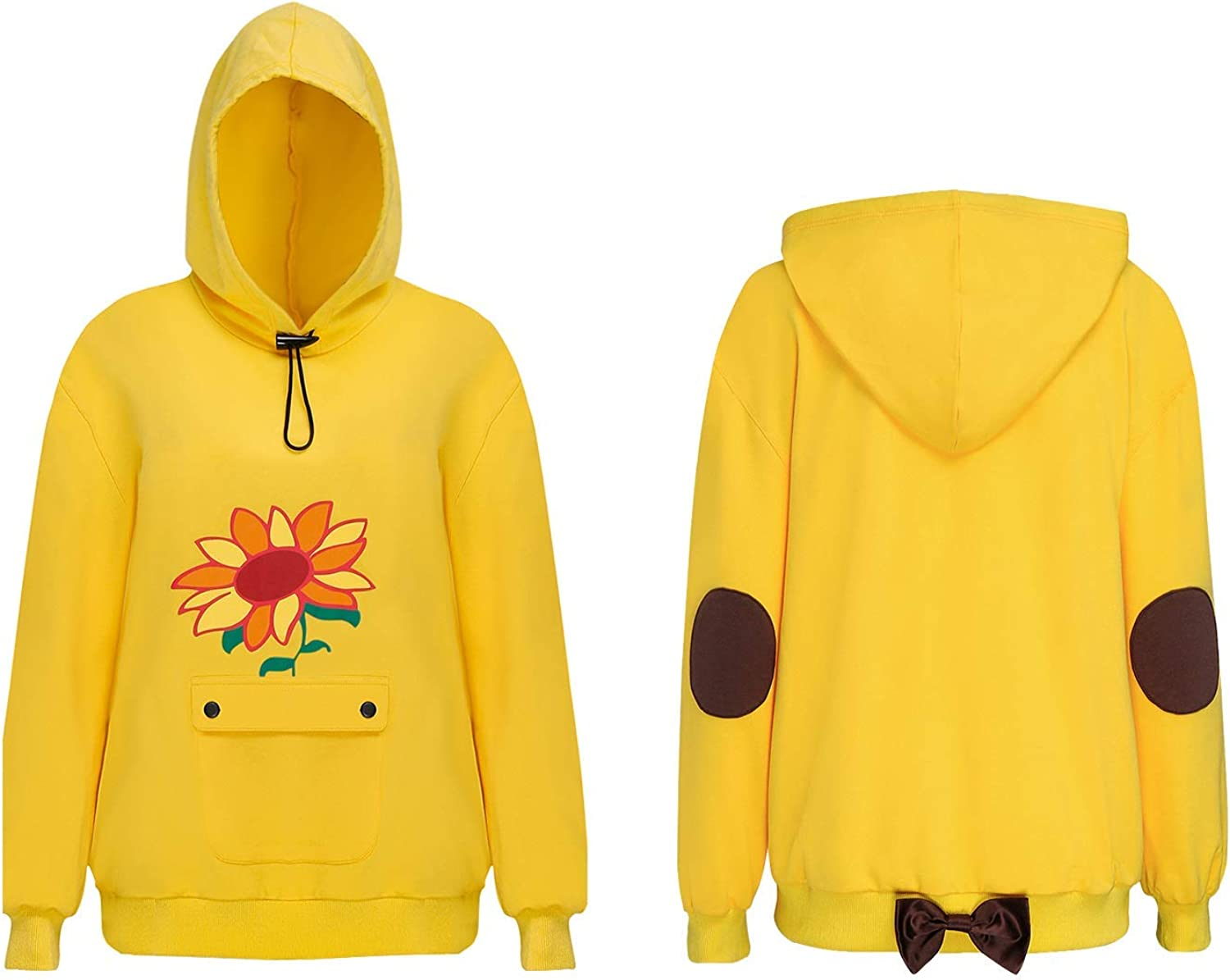 FirstCos Wonder Egg Priority Ohto Ai Cosplay Hoodies Anime Pullover Drawstring Hooded Sweatshirts Yellow Cute Sunflowers Tops